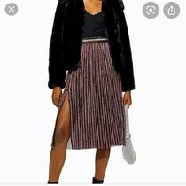 Topshop Stripe Skirt Rainbow Size 12 Bnwt Xmas Party Photo