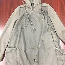 Topshop Sz 8 Green Olive Hooded Jacket Trench Duster Army Layered Look Wrap Coat Photo