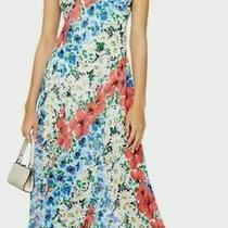 Topshop Tall Glitch Floral Bias Midi Dress Sleeveless Fit Flare Chiffon Long 8 Photo