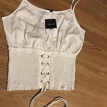 Topshop Tie Lace Up Strap Top Summer Size 10 Brand New White Vest Corset Style Photo