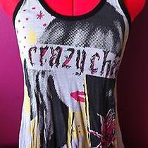 Topshop Top Tunic Tank Graphic Art Crazy Chick Size 8 Photo