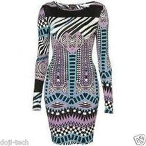 Topshop Tribal Aztec Print Silky Jersey Long Sleeve Mini Bodycon Dress 12 40 8 M Photo