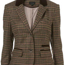 Topshop Tweed Check Velvet Collar Trim Crop 40s Vtg Riding Blazer Jacket 14 42 M Photo