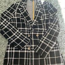Topshop Uk Size 8 - Black & White Check Blazer/jacket Photo