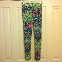 Topshop Us 6 M Pink Green Blue Artsy Smooth Stretch Pants Leggings Photo