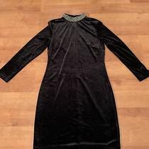 Topshop Velvet Mini Dress With Embellished Beaded Polo Neck Size 12  Photo