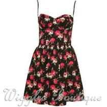 Topshop Vintage Floral Rose 50's Corset Sun Dress - Black Uk8/eu36/us4 Bnwot Photo