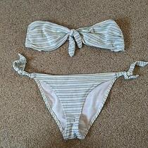 Topshop White and Blue Striped Bikini Size 12 Photo