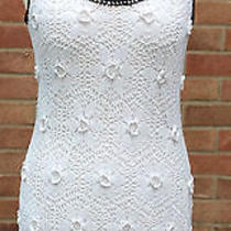 Topshop White Crochet Lined Dress Size 10 Gently Worn Condition Photo