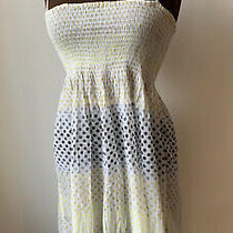Topshop White Yellow Blue Grey Sun Dress Sz S/m Summer Mini Short Smocked Cotton Photo