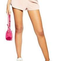 Topshop Womens Acid Velour Runner Shorts Blush Pink Sz 8 Nwt N3723 Photo