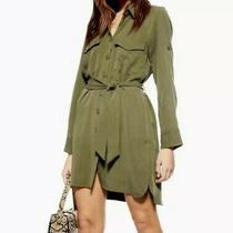Topshop Womens Dress Army Olive Green Button Up Short Dress Belt Lyocell 10 Photo