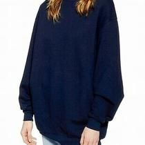 Topshop Women's Sweater Navy Blue Size 4 Pullover Mock-Neck Ribbed 68 319 Photo