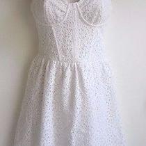 Topshop Women's White Lace Corset Flippy Tunic Mini Dress  Size 4  Worn Once Photo
