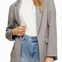 Topshop Womens Blazer Gray Size 12 Slouch Marled Notch-Lapel Open-Front 60 037 Photo
