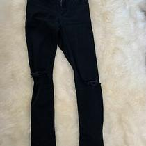 Topshop Womens Jeans Size 26 L32 Black Jamie High Waist Ripped Knee Skinny Photo