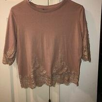 Topshop Womens Pink Nude Blush Lace Blouse Size 6 Us Medium Shirt Pre Owned Top Photo