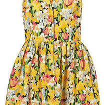Topshop Yellow Floral Daffodil Rose Print Mini Skater Shirt Tea Dress 8 36 Us4 Photo