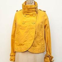 Topshop Yellow Wrap Crop  Buckled Moto Cotton Shell Jacket Coat Sz Petite 10 Photo