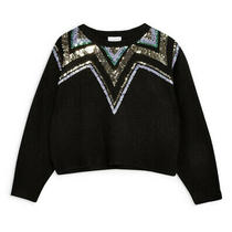 Topshop Yoke Fair Isle Sweater Sequin Size 8 Sold Out Black Gold Photo