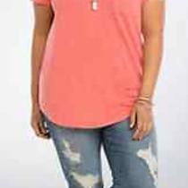 Torrid Back to School Blush Peach Lace Slub Button Henley Tunic Top Plus Size 2x Photo