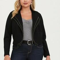 Torrid Black Double Zip Drape Ponte Blazer Size 3 Photo