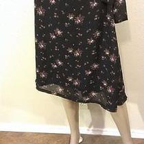 Torrid Black Pink Purple Flower Bunch Side Tie Casual Career Skirt 14 Photo