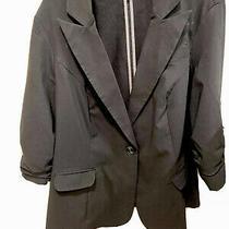Torrid Blazer Size 1 Black Open Front Career Cardigan Ruched 3/4 Sleeve Photo