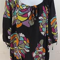 Torrid Blouse Black Multi-Color 3/4 Sleeve Open Stained Glass Floral Size 2 (2x) Photo