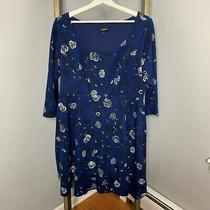Torrid Blue Dress Sheath Sz 1 1x Womens Pluse Floral Roses 3/4 Sleeve Stretch  Photo