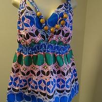 Torrid Blue/pink/green Circular Print No Sleeve Blouse With Wooden Necklace-1 Photo