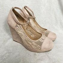 Torrid Blush Pink Ankle Strap Wedge Heels Size 9 Photo