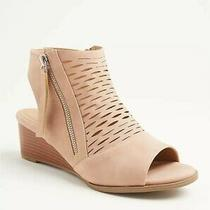 Torrid Blush Pink Faux Leather Perforated Wedge Worn Once Sz 9w Photo