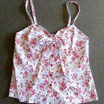 Torrid Corset Bustier Cami Size 0 (Large) Blouse Top White With Red Roses Photo