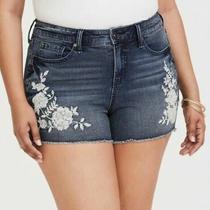 Torrid Denim Floral Jean Shorts Embroidered Summer Women's Size 14 Photo