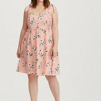 Torrid Online Exclusive Size 0 Blush Floral. Paradise Bow Strap Challis Dress  Photo