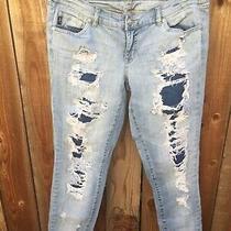 Torrid Premium Boyfriend Denim Jeans Size 12 Distressed Light Wash Blue Cute Photo