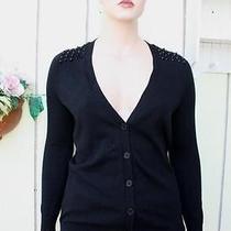 Torrid Punk Studded Black Cardigan Sweater v-Neck Button Cotton Plus (0)12-14 Photo