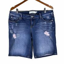 Torrid Size 14 Bermuda Blue Wash Denim Jean Shorts With Pink Distressed Accents Photo