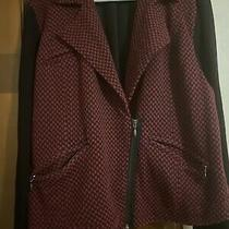 Torrid  Size 3 Black and Maroon Checkered Blazer With Zippers Photo