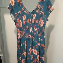 Torrid Stretchy Knee Length Dress Teal Floral Cap Sleeve v-Neck Photo
