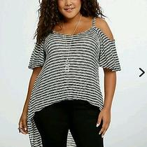 Torrid Striped Knit Hi Low Top 2x Photo