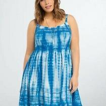 Torrid Tie Dye Challis Sundress Blue 1x Photo