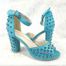 Torrid Turquoise Blue Faux Suede Studded Ankle Strap Heels Women's Sz 9 Photo
