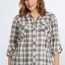 Torrid Vintage Pinup Black Blush Plaid Button Down Camp Shirt Top Plus Size 1x Photo