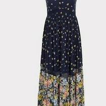 Torrid Womans Navy Mixed Floral Challis Button Maxi Dress Size 2x Plus Nwt Photo