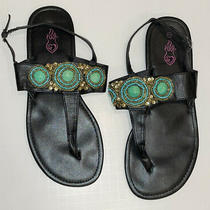 Torrid Womens Jeweled Thong Strapped Sandals Size 11 Turquoise Photo