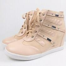 Torrid Women's Shoe Faux Leather Wedge Sneaker Size 12 Blush Pink Photo