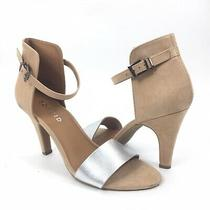 Torrid Women Size 11 Open Toe Metallic Faux Suede Ankle Strap Heel Sandals Tan Photo