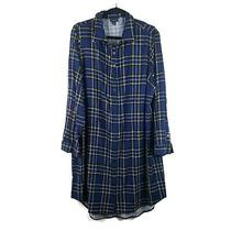 Torrid Womens Challis Shirt Dress Blue Plaid Stretch Roll Tab Sleeve Plus 3x Photo